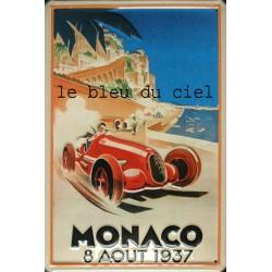 Plaque métal publicitaire 20x30cm bombée en relief : MONACO 8 AOÛT 1937.