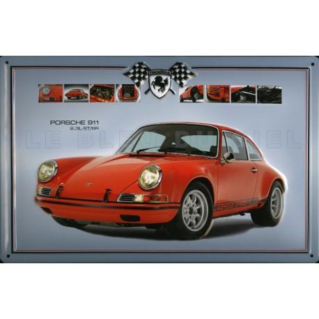 Plaque métal publicitaire 20 x 30 cm bombée en relief  : PORSCHE 911.