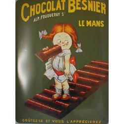 Plaque métal  publicitaire 30x40cm Bombée en  relief  : CHOCOLAT BESNIER.