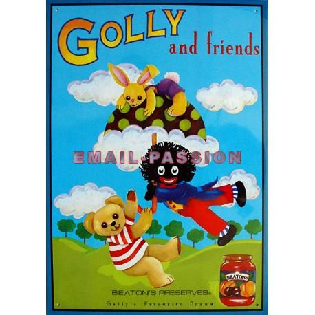 Plaque métal publicitaire 30x40cm  plate  : Golly and friends.