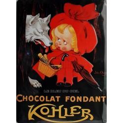 Plaque métal publicitaire 30x40cm  bombée  :  CHOCOLAT FONDANT KOHLER