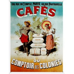 Plaque métal publicitaire 30x40cm  plate  : CAFÉ DU COMPTOIR DES COLONIES.