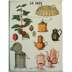 Plaque métal publicitaire 30x40cm plate, biseautée : LE CAFE.