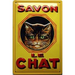 Plaque métal publicitaire 20x30cm bombée en relief :  SAVON LE CHAT