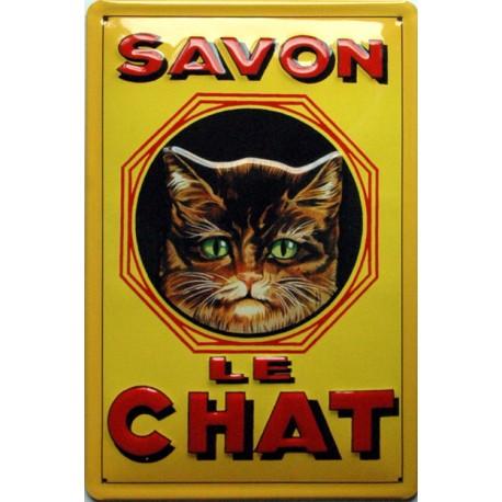 Plaque métal publicitaire 20x30cm bombée en relief :  SAVON LE CHAT.