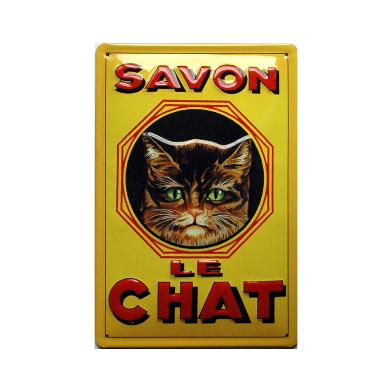 plaque m tal publicitaire 20x30cm bomb e en relief savon le chat. Black Bedroom Furniture Sets. Home Design Ideas