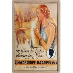 Plaque métal publicitaire 20x30cm bombée en relief : SCHWARZKOPF