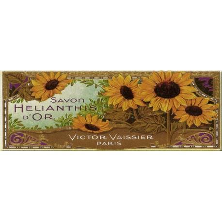 Plaque métal publicitaire 18x45 cm plate : SAVON  HELIANTHIS D'OR.