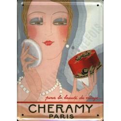 Plaque métal publicitaire bombée 30x40cm : POUDRE CHERAMY PARIS.
