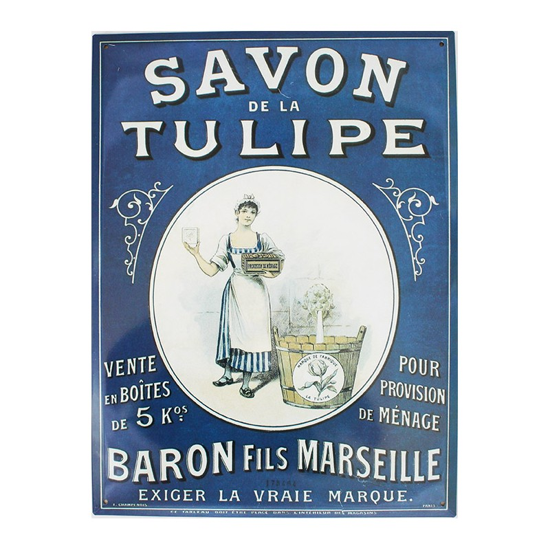 plaque m tal publicitaire plate 30x40cm savon de la tulipe. Black Bedroom Furniture Sets. Home Design Ideas