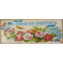 Plaque métal publicitaire 18x45 cm plate : SAVON AU PARFUM DES BALKANS.