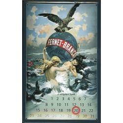 Calendrier métal publicitaire 20x30cm bombé en relief : Fernet-Branca.