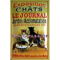 Plaque métal publicitaire 20x30cm bombée en relief : Exposition de Chats.