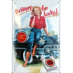 Plaque métal publicitaire 20x30cm bombée en relief : Lucky Strike.