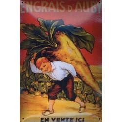 Plaque métal publicitaire 20x30cm bombée  :  ENGRAIS D'AUBY.