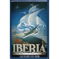 Plaque  métal publicitaire 20x30cm bombée en relief :  IBERIA.