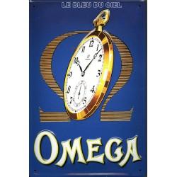 Plaque métal publicitaire 20x30cm bombée en relief : Montre OMEGA.