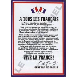 Plaque métal publicitaire bombée 30x40cm : A TOUS LES FRANCAIS.