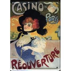 Plaque métal publicitaire bombée 30x40cm : CASINO DE PARIS.