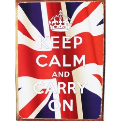 Plaque métal publicitaire 30x40cm plate : KEEP CALM AND CARRY ON.