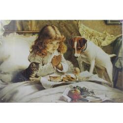 Plaque métal publicitaire 30x40cm plate :  Petite fille prière.