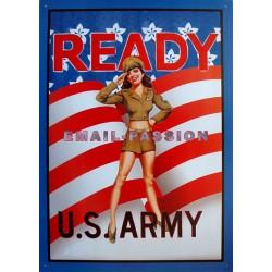 Plaque métal publicitaire 30x40cm plate :  READY U.S. ARMY.