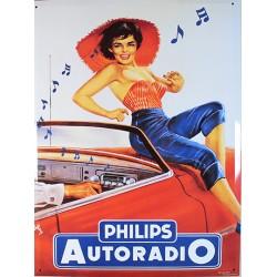 plaque métal publicitaire 30x40cm plate : PHILIPS AUTORADIO.