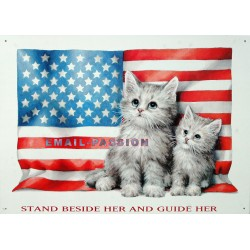 Plaque métal publicitaire 30x40cm plate :  Chatons U.S.