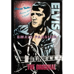 Plaque métal publicitaire 20x30cm bombée relief : ELVIS THE ORIGINAL.