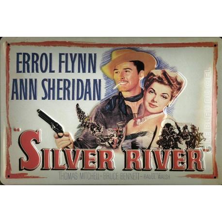 Plaque métal publicitaire 20x30cm bombée relief  : SILVER RIVER