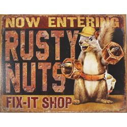 Plaque métal publicitaire 30x40cm plate :  RUSTY NUTS.