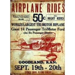 Plaque métal publicitaire 30x40cm plate : AIRPLANE RIDES.