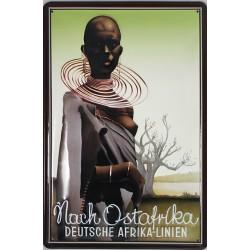 Plaque métal publicitaire 20x30cm bombée en relief : DEUTSCHE AFRICA-LINIEN.