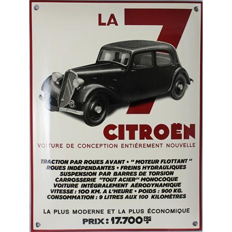 Plaque émaillée bombée Citroën LA 7.