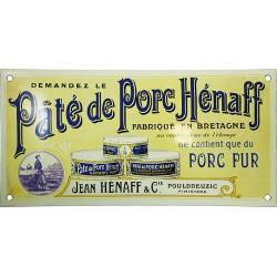 Plaque émaillée : PÂTÉ DE PORC HÉNAFF