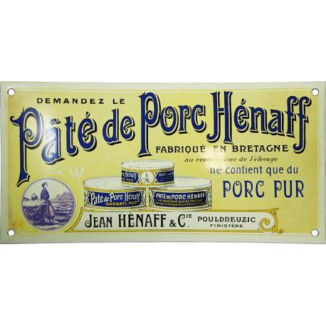 Plaque émaillée bombée Pâté de Porc Hénaff.