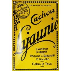 Plaque émaillée : CACHOU LAJAUNIE.