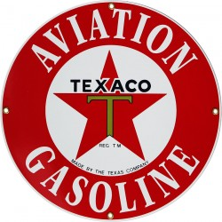 Plaque émaillée, plate, diam 28.5cm :  TEXACO AVIATION.
