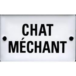 Plaque humoristique émaillée bombée 6x10 cm : CHAT MÉCHANT