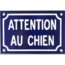 plaque émaillée 10x15 cm :  ATTENTION AU CHIEN