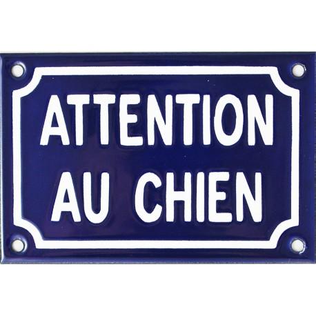 plaque humoristique émaillée :  ATTENTION AU CHIEN