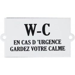 Plaque de service émaillée plate à Oreilles de 6x10cm : WC EN CAS D'URGENCE...
