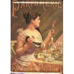 Plaque métal publicitaire 15x21cm bombée : Parfumerie Félix Potin