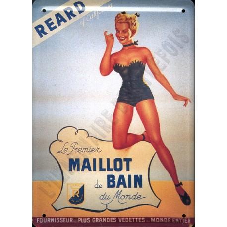 Plaque métal publicitaire 15x21cm plate : Maillot de bain REARD.