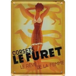 Plaque métal publicitaire 15x21cm bombée : Corsets LE FURET