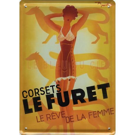 Plaque métal publicitaire 15x21cm plate : Corsets LE FURET.