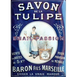 Plaque métal publicitaire 15x20cm plate : Savon de la Tulipe.
