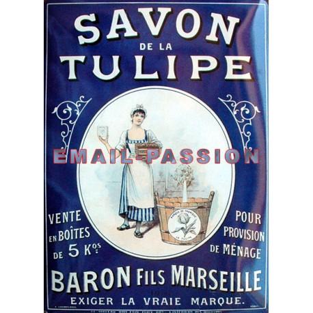 Plaque métal publicitaire 15x21cm bombée : Savon de la Tulipe.