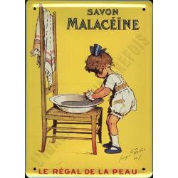 Plaque métal publicitaire 15x21cm bombée : Savon Malacéïne