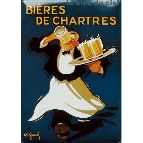 Plaque métal publicitaire 15x21cm bombée : Bières de Chartres